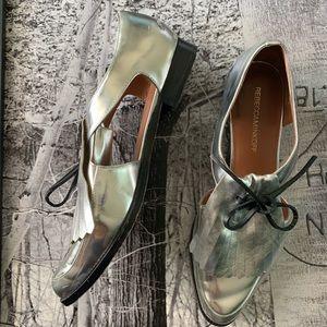 Rebecca Minkoff Macy silver oxford cutout loafers